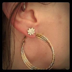 Pair of 3 tone Gold Hoop Earrings